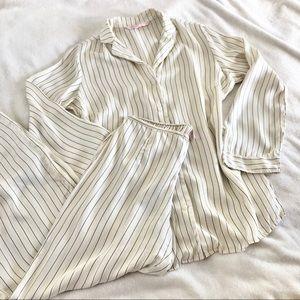 VICTORIAS SECRET/ silk striped pajama set